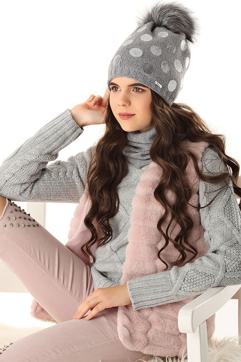 6b28d1311 Čiapky zimné dospelý | Pletená čiapka 4 D šedá | ciapkovosk